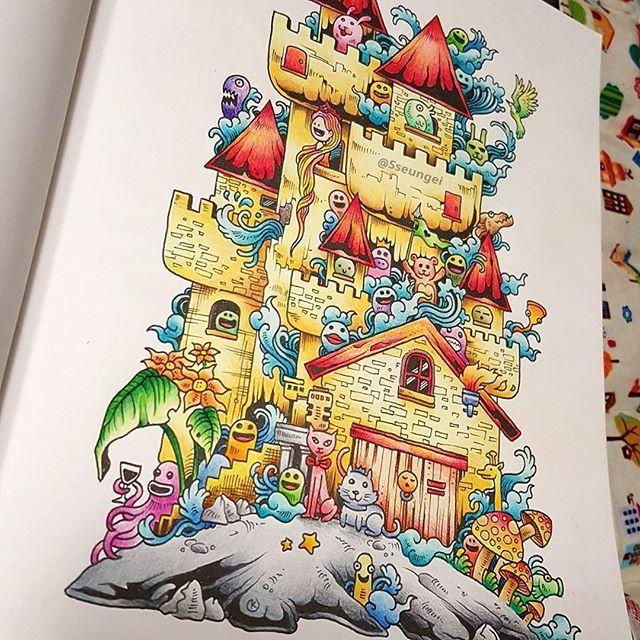 ✔2016.2.5 낙서침공 No.1  하루동안 큰애랑 전쟁치루며 후다닥~ 귀욤퐝퐝 낙서침공 낙서들..ㅋㅋ ➡DoodleInvasion Completion.  #낙서침공 #DoodleInvasion #커비로자네스 #KerbyRosanes #한스미디어 #컬러링북 #ColoringBook  #Colouring #ColoringArt  #mycreativeescape  #jardimsecreto #파버카스텔폴리크로모스  #fabercastellpolychromosColourPencils