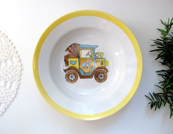 Soviet Vintage Soup Or Cereal Bowl Ceramic White Bowl Car Picture Children Dish Collectible Dish By Littleretronome 12 00