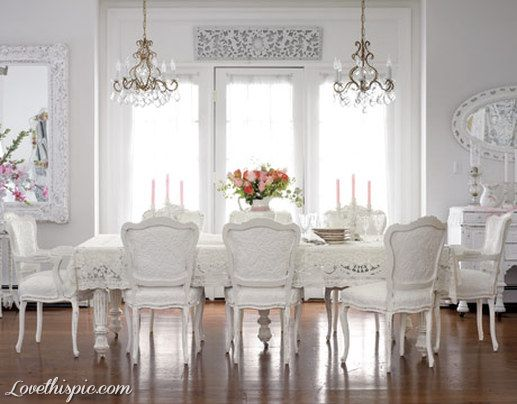 Elegant All White Formal Dining Room Home Style Decorate Luxury Rich