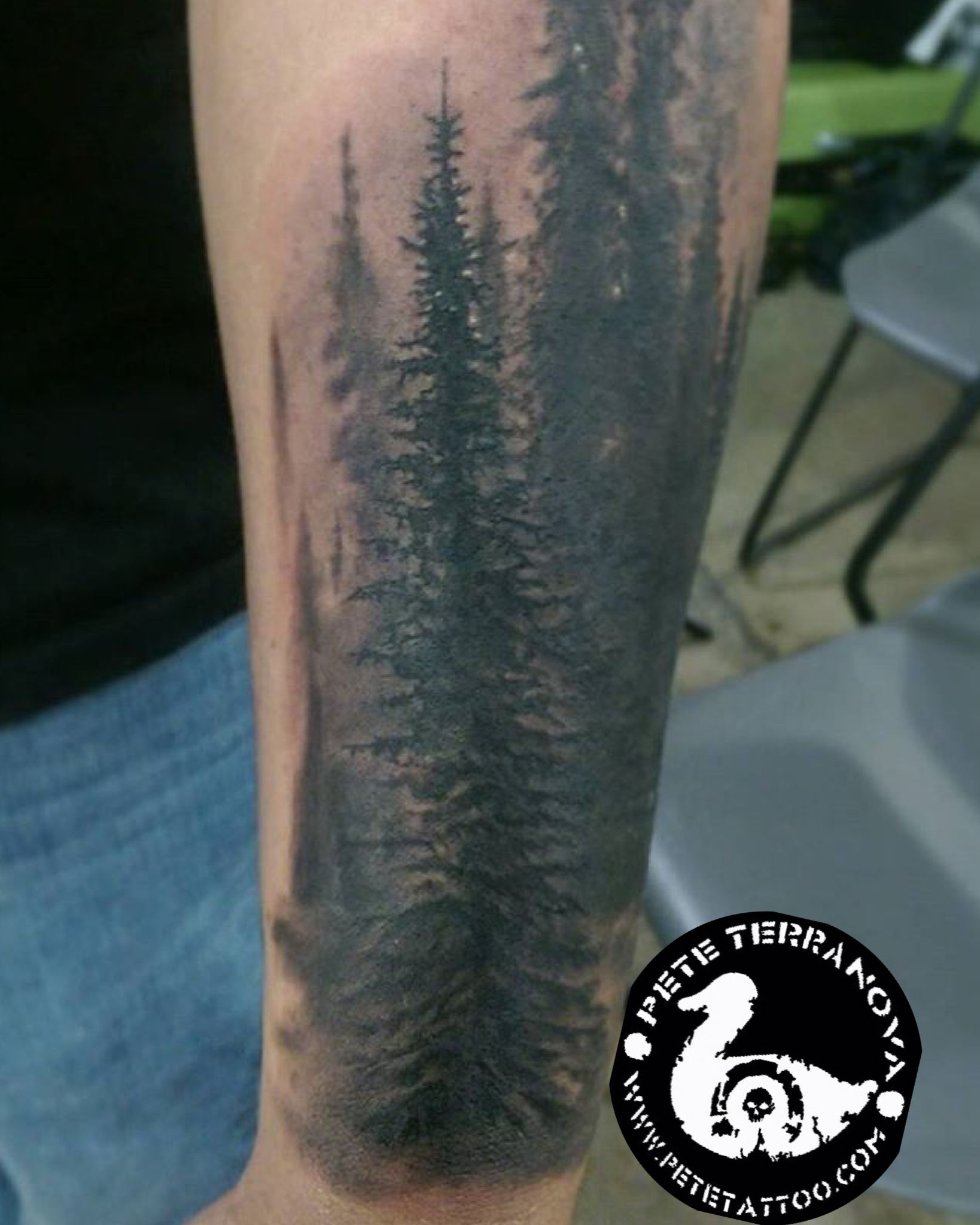 Black and gray evergreen tree line tattoo | Custom Tattoos ...