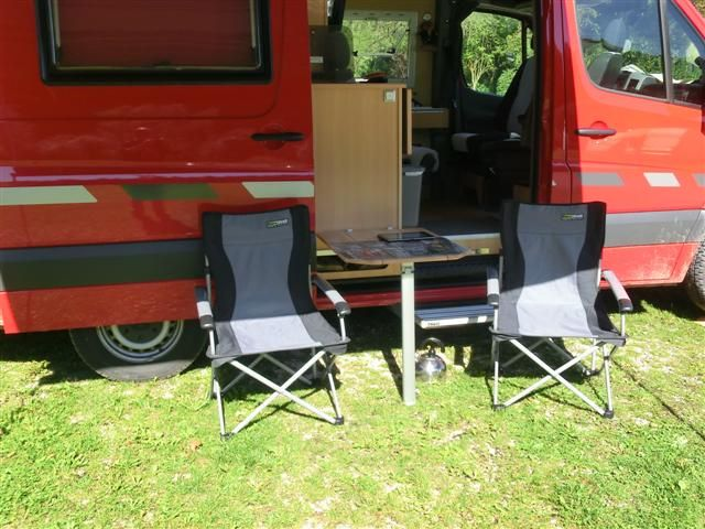 A German Mercedes Sprinter Camper The Cs Duo Note The Clever Flip Down Outside Table Built