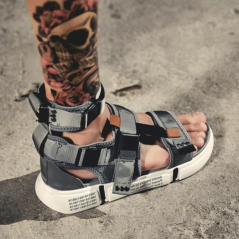 Mens leather sandals, Leather roman