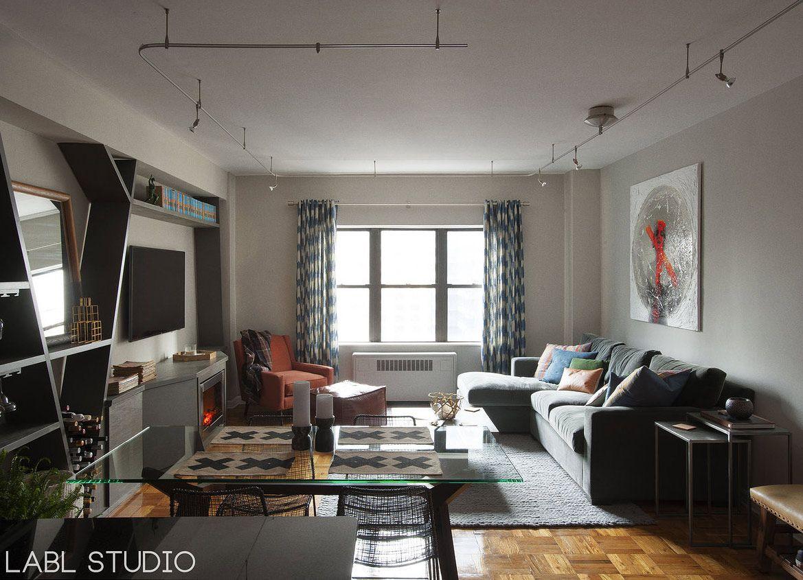 Men Nyc Studio Apartment By Labl Contemporary Living Room Design