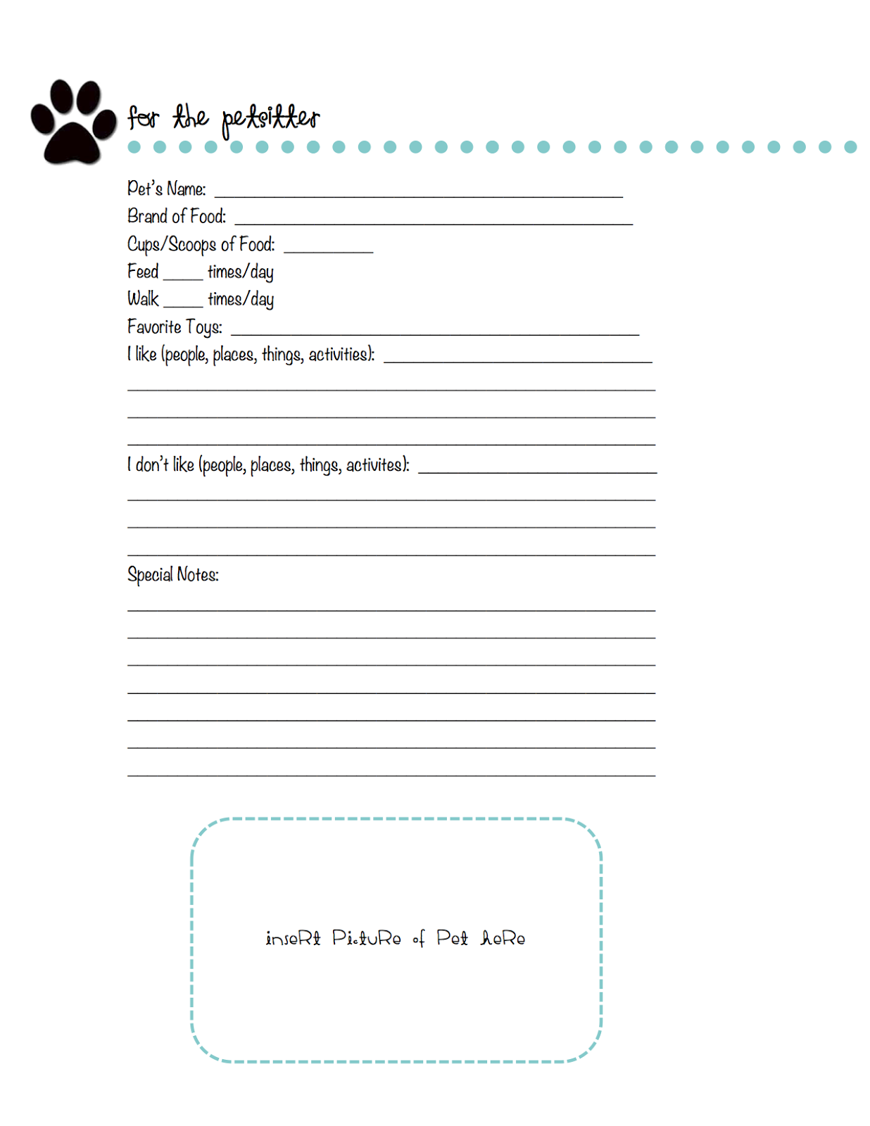 free printable pet sitting forms koni polycode co