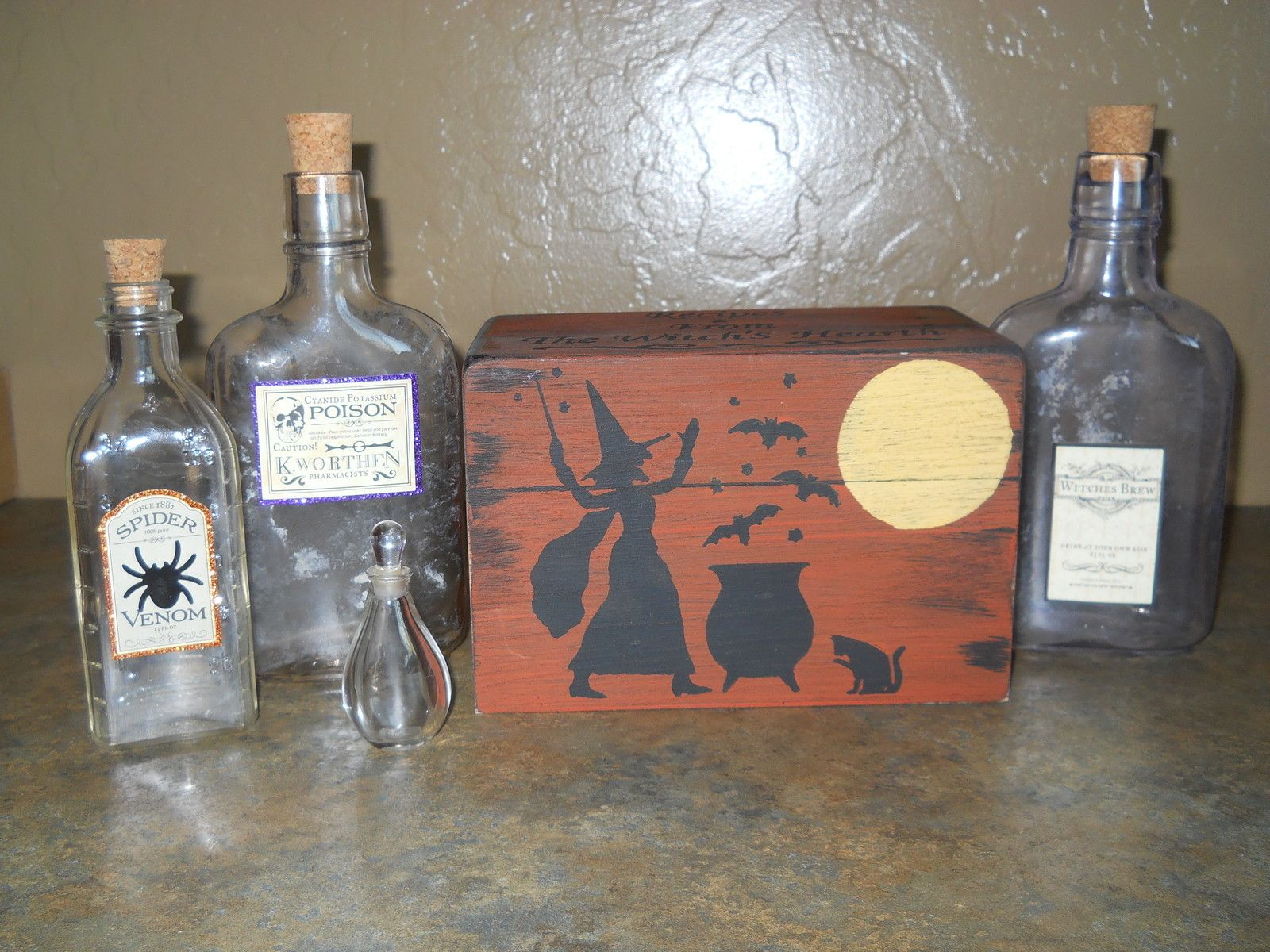 halloween vintage folk art witch recipe box potion bottles props decorations ebay