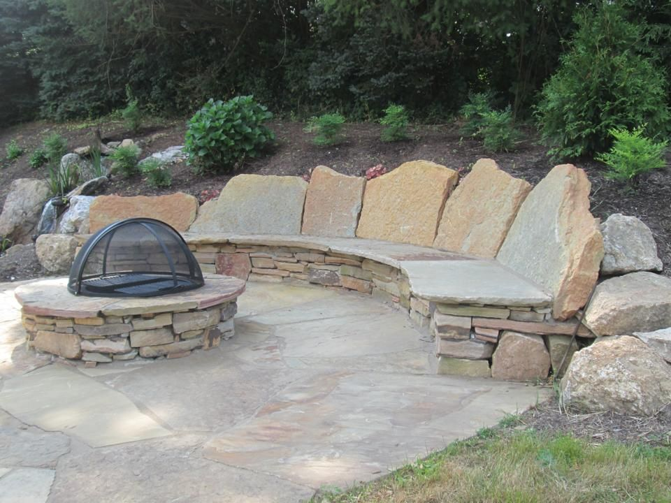 patio rustic patio stone outdoor living walls steps fire pit gregg and ellis landscape designs - Stone Patio Designs With Fire Pit