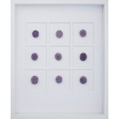 purple sea urchin wall art with white shadow box frame