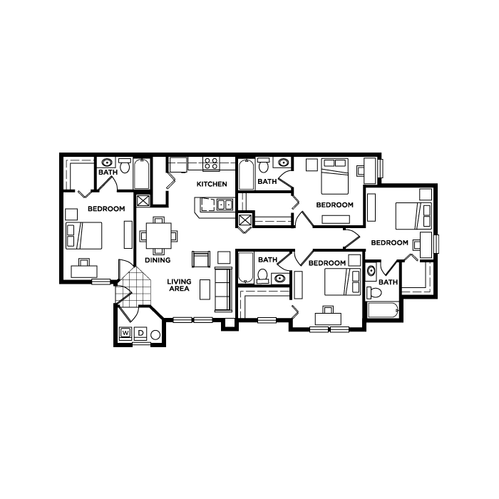 Floorplans Mercury 3100 Student Apartments For Orlando Fl At Ucf Floor Plans Student Apartment Bedroom Floor Plans