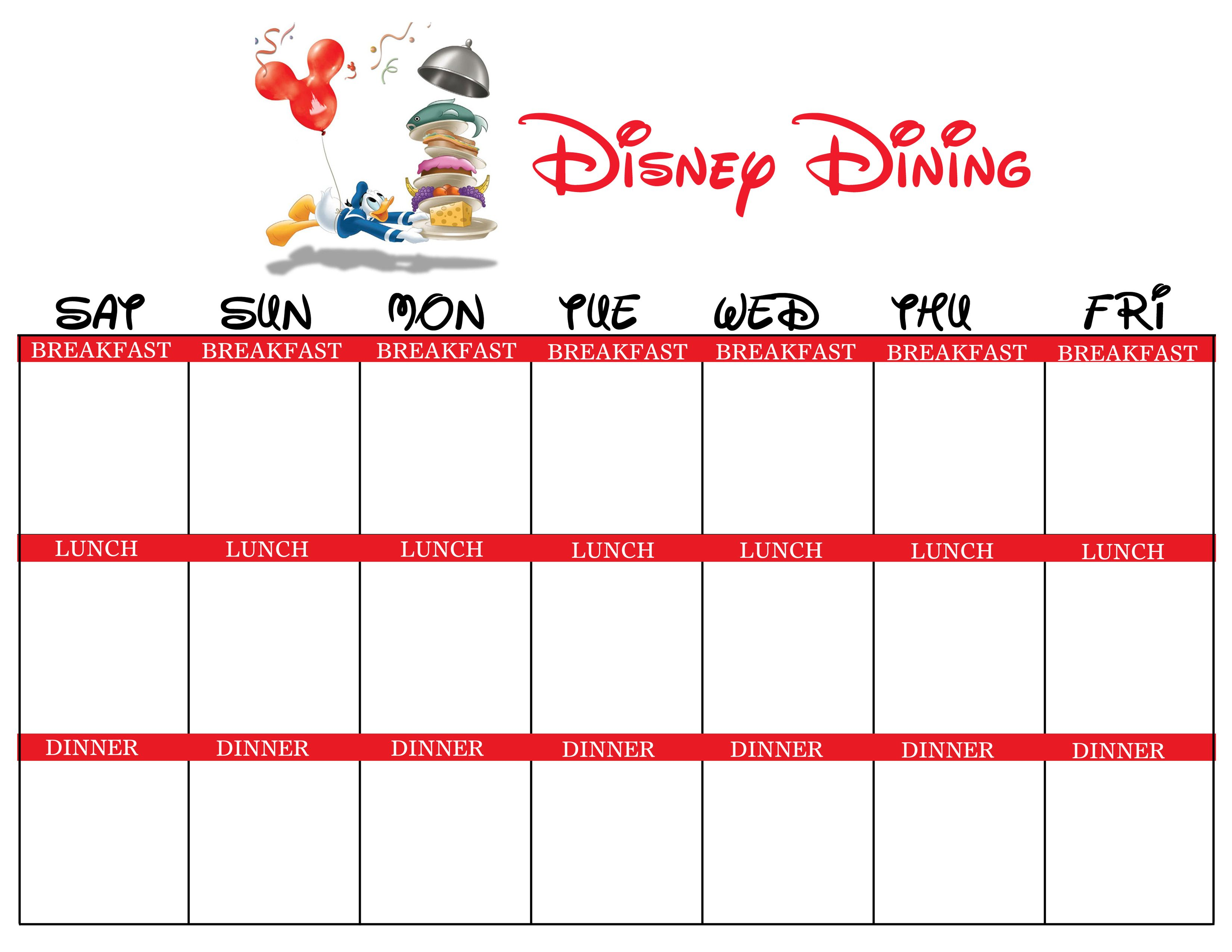 Disney Dining Planner