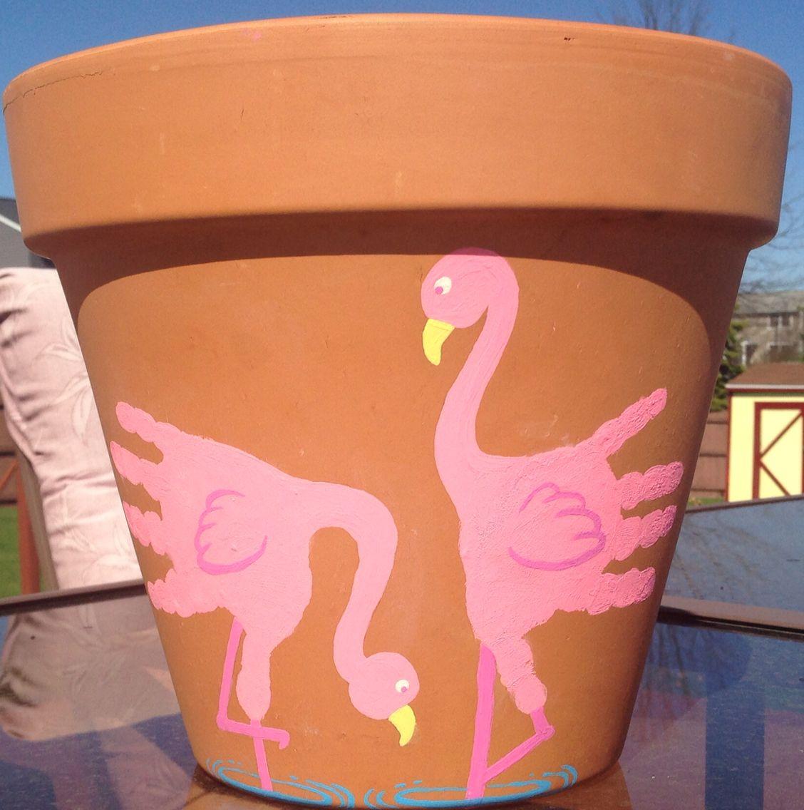 Kids Handprint Flamingo Flower Pot Craft Flower Pot Crafts Kids Flower Pot Crafts Mothers Day Crafts