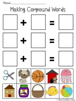 Compound Words Worksheets And Activities Mega Pack Compound Words Worksheets Compound Words Making Words Kindergarten Kindergarten compound words worksheets