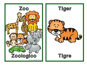 English Spanish Zoo Flashcards Animal Flashcards Zoo Animals Zoo
