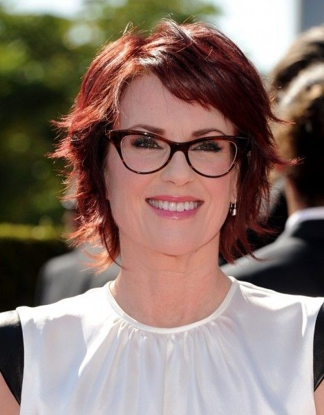 Megan Mullally Layered Short Red Hairstyle For Thick Hair Razor Cut