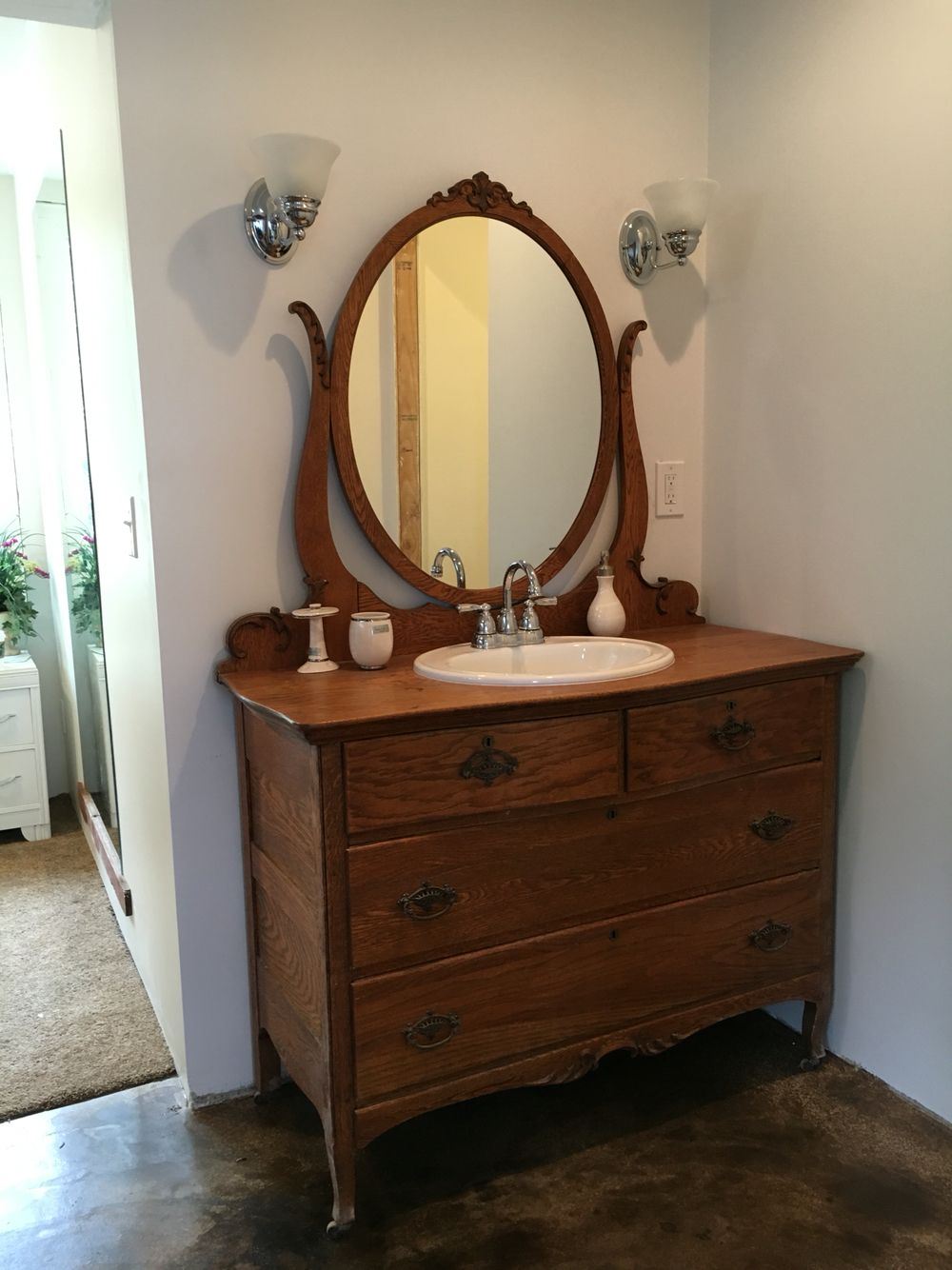 Dresser Turned Bathroom Vanity Tutorial: Tiger Oak Dresser Turned Vanity.