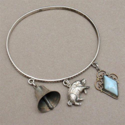 Victorian Sterling Silver Bangle Bracelet 3 Charms Bell Pig Pendant