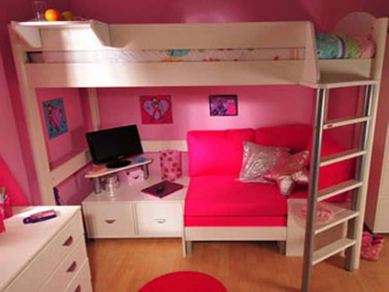 Bed Room, Red Cover Bedroom Furniture Beautiful Small Bunk Beds With Couch  Underneath With With Desk Underneath For Study With Computer And Aslos For  The ...