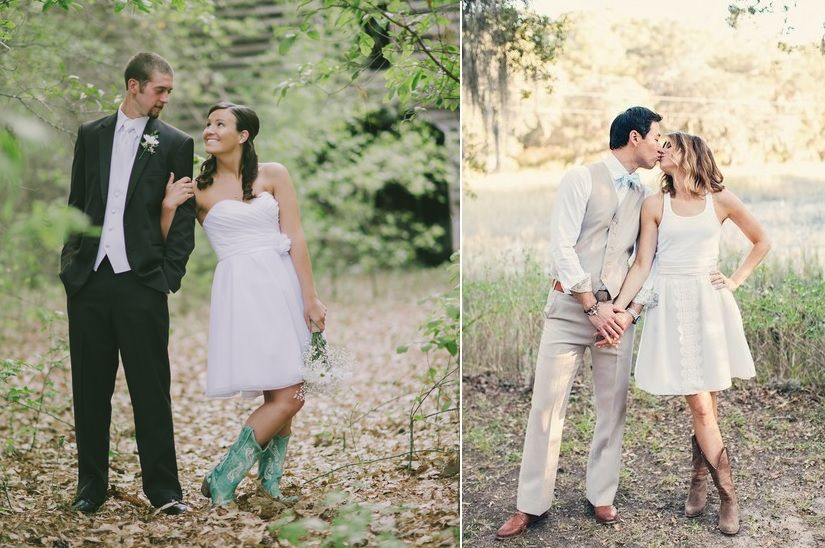 Awesome short country wedding dresses with boots ideas for Short wedding dress with cowboy boots