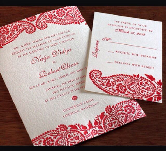 Red And White Hindu Wedding Invites Wedding Invitations