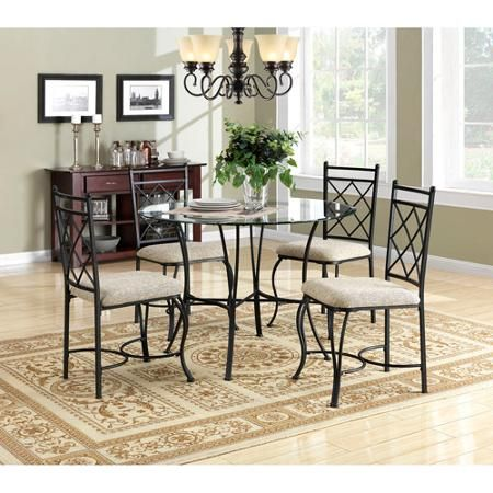 Mainstays 5 Piece Glass Top Metal Dining Set Walmart Com Metal Dining Set Glass Kitchen Tables Round Glass Kitchen Table