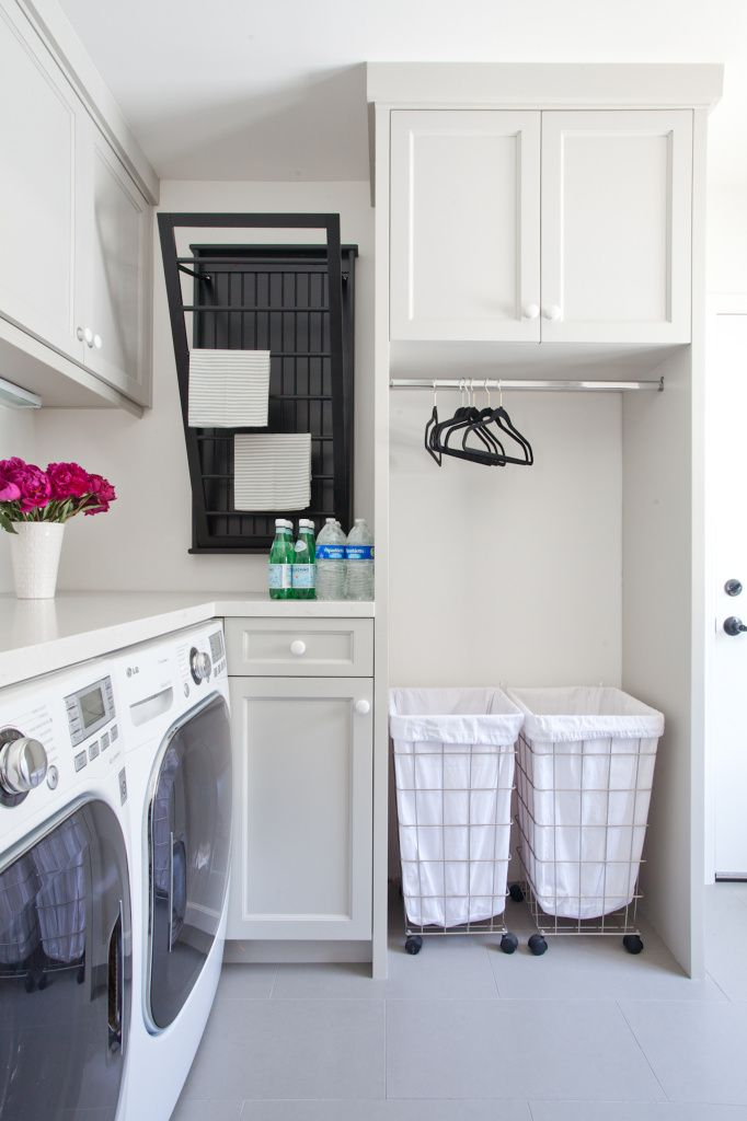 Traditional Laundry With Lots Of Storage And Sleek Benches Love The Black Airer Hanging Rail Hampers On Wheels