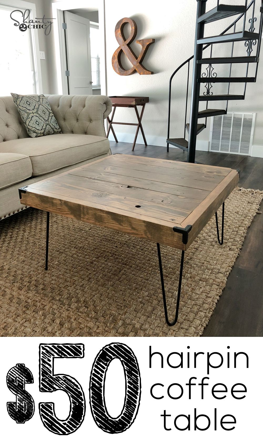 Diy 50 Hairpin Coffee Table By Shanty2chic Coffee Table