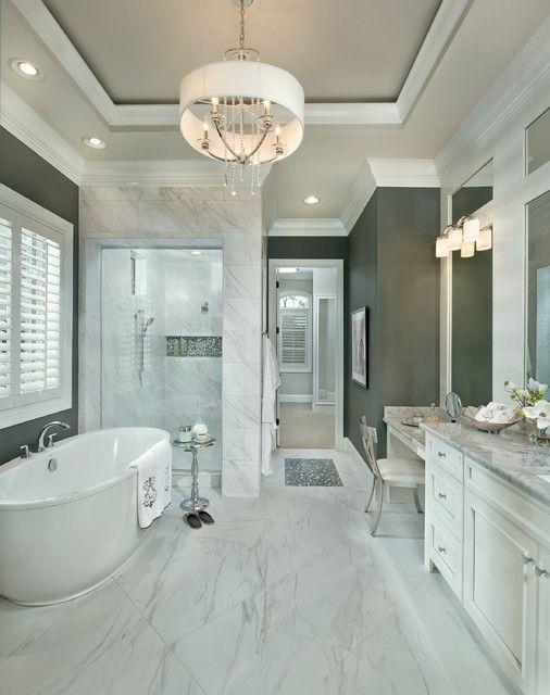 19 Spectacular Master Bathrooms With Freestanding Bathtub Classical Bathroom Bathroom Design Luxury Bathroom Interior