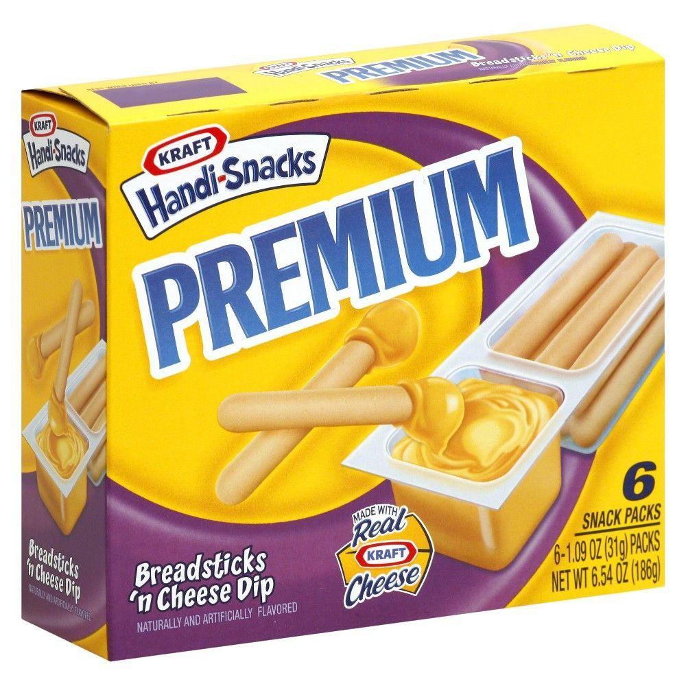 Handi Snacks Premium Breadsticks N Cheese Dip 6ct 1 09oz Handi Snacks Kraft Handi Snacks Snacks
