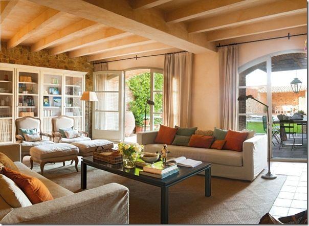 Casa contry zona salotto casa dolce casa pinterest for Disegni portico anteriore per case in stile ranch