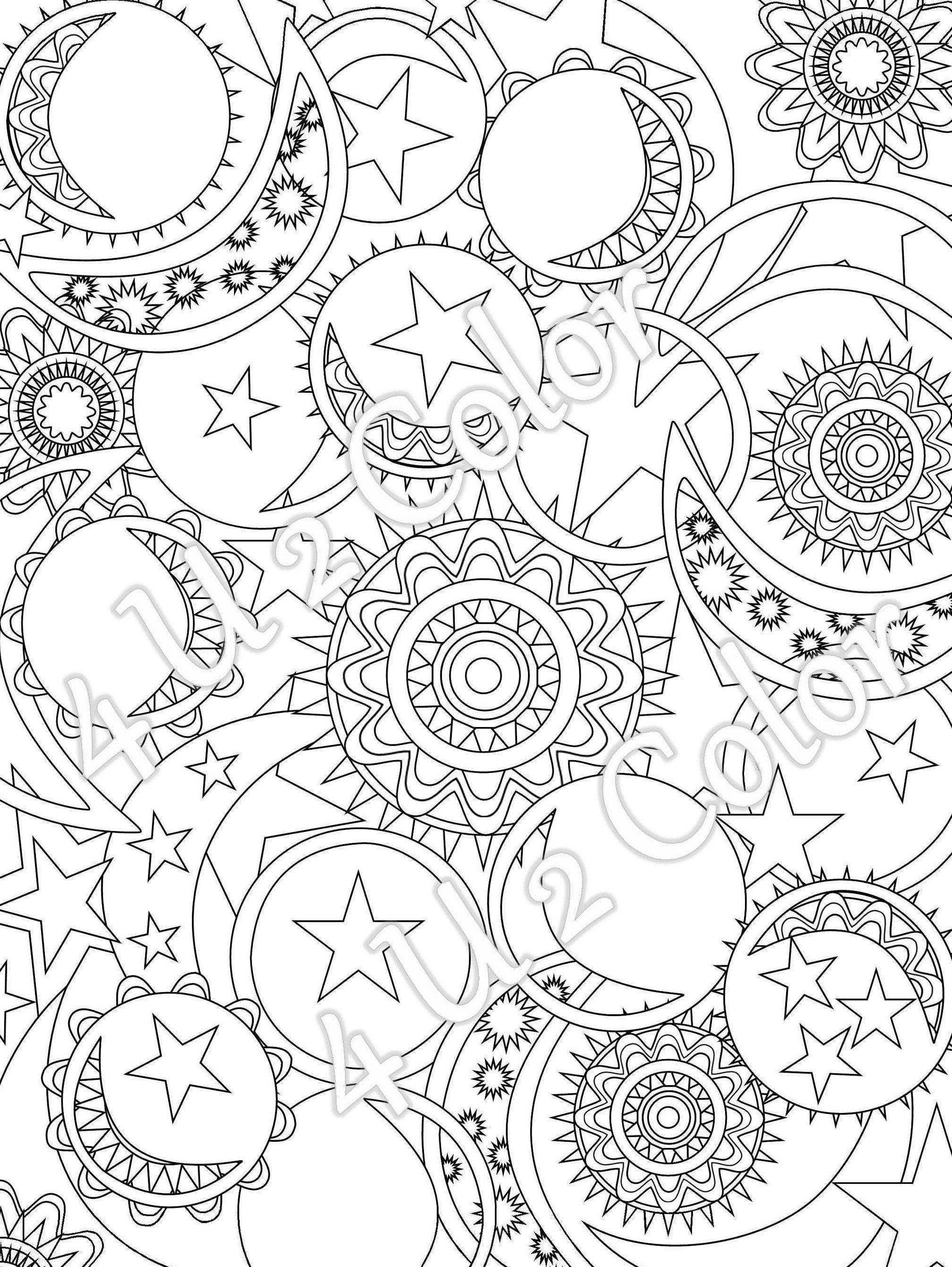 Sun Moon Stars 1 coloring page sun moon stars patterns full