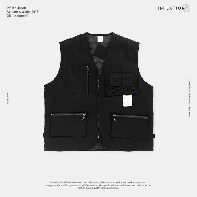 8e48c3eaafb INFLATION 2018 New Streetwear Tactical Vest Hip Hop Sleeveless Vests Men  Cargo Waistcoat with Pockets Military Coat Vest 8762W