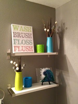 Bathroom shelves from Ikea. Grey, teal, green | Bad Woon Huiskamer ...
