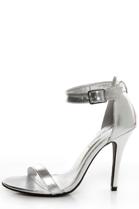 bbf2cd2a096 Anne Michelle Enzo 01 Silver Metallic Ankle Strap Heels | CHRISTMAS ...