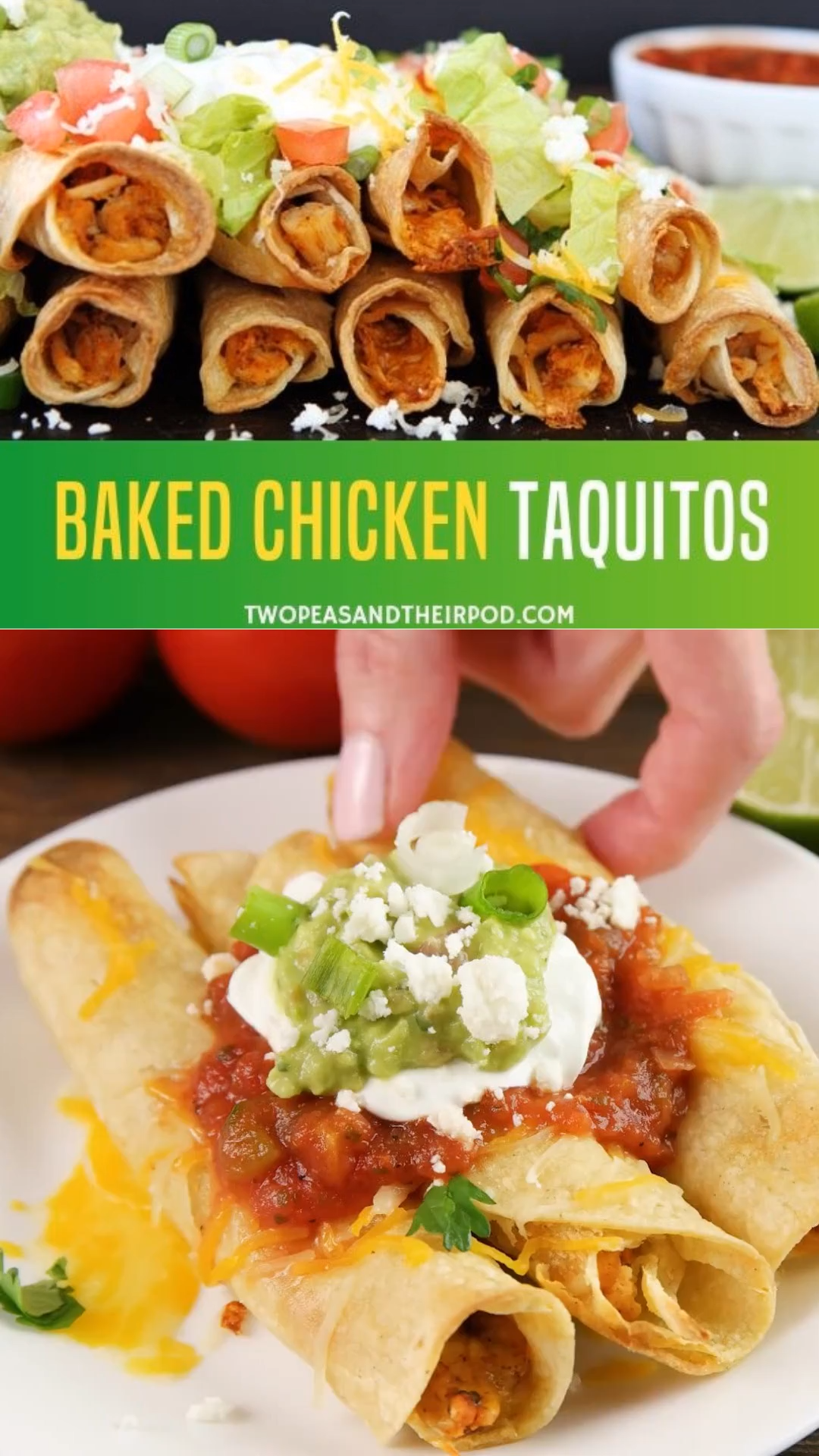 Baked Chicken Taquitos #easymexicanfoodrecipes
