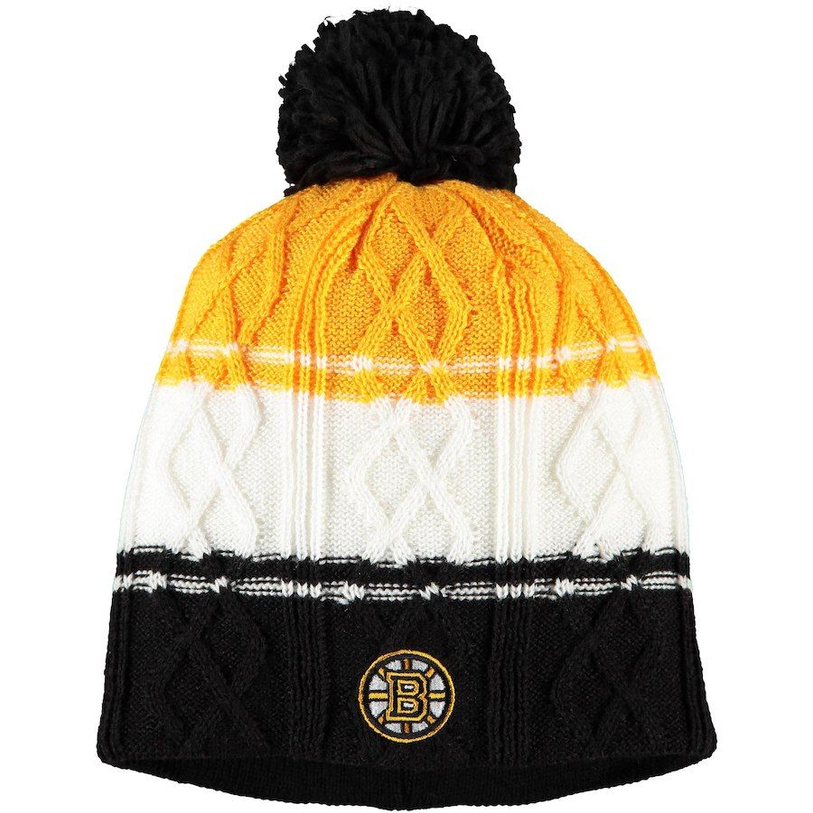 d2563259a Women s Boston Bruins adidas Black Gold Cabled Knit Beanie with Pom ...