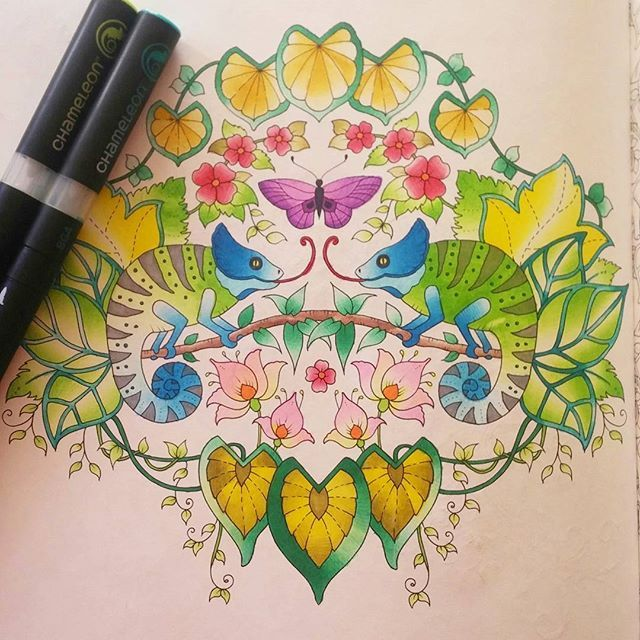 Stunning Johanna Bashford Colouring Page By Machae0105 Using Their Chameleon Pens Johannabashford Adultcolo Chameleon Color Coloring Markers Coloring Pages