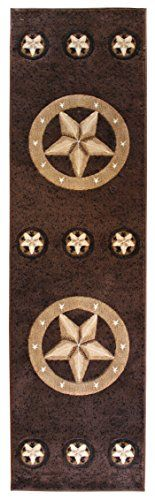 Rugs 4 Less Collection Texas Lone Star State Novelty Runner Area Rug R4l 78 Chocolate Brown