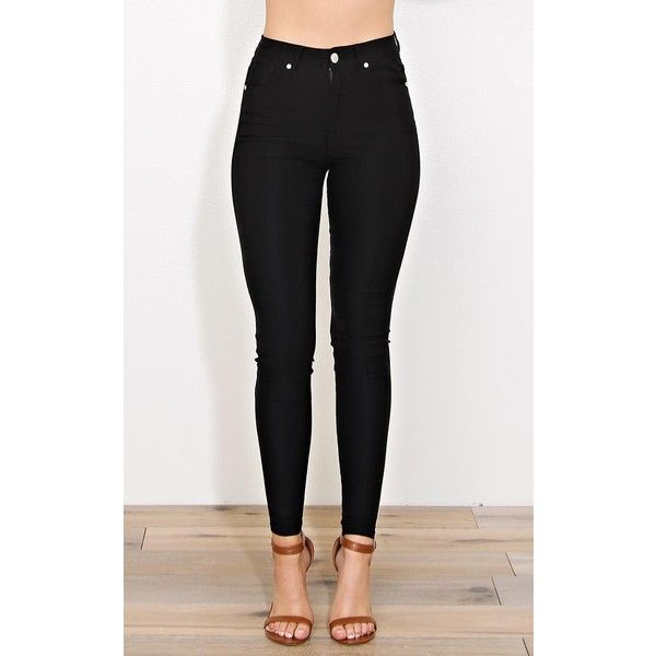 Black High Rise Hyperstretch Jeggings ($23) ❤ liked on Polyvore featuring pants, leggings, black, cotton pants, tapered pants, high waisted denim leggings, jeggings leggings and high-waisted pants