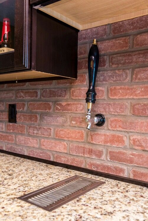 Through wall beer tap home basement bar pinterest for Home bar with kegerator space
