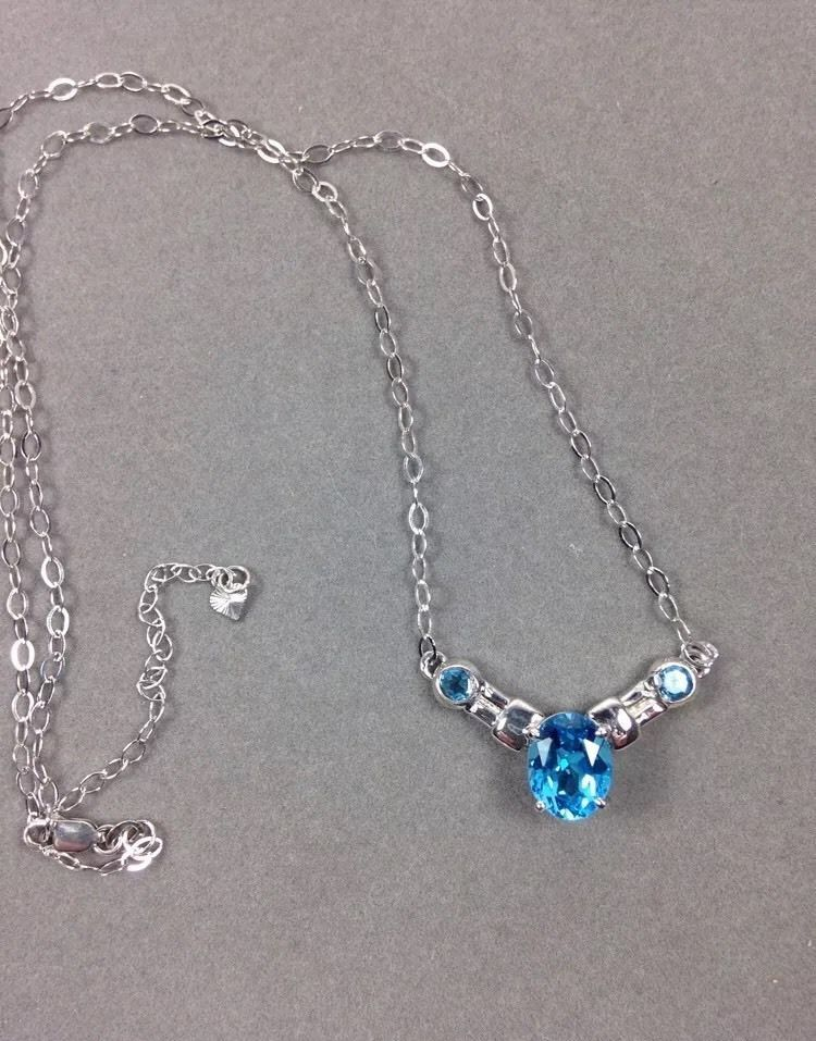 Sterling Silver 925 Necklace Swiss London Blue Topaz
