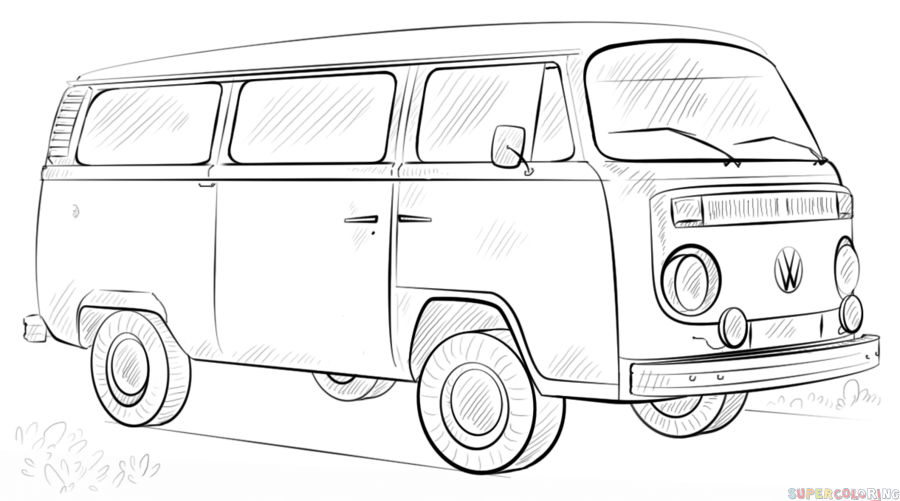 How to draw a VW bus step by step. Drawing tutorials for kids and ...