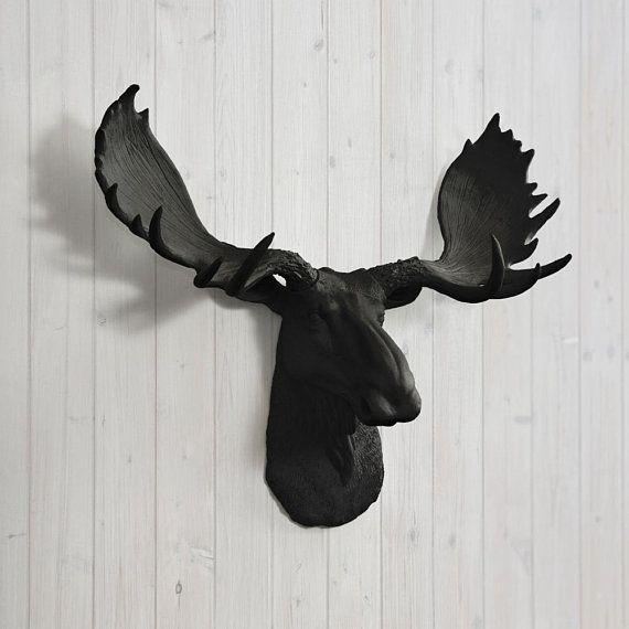 Black Faux Moose Head Wall Charmers Faux Taxidermy Gothic Home Decor Wall Hanging Boho Decor Rustic Home Decor Farmhouse Decor Animal Heads Moose Animal Moose Head