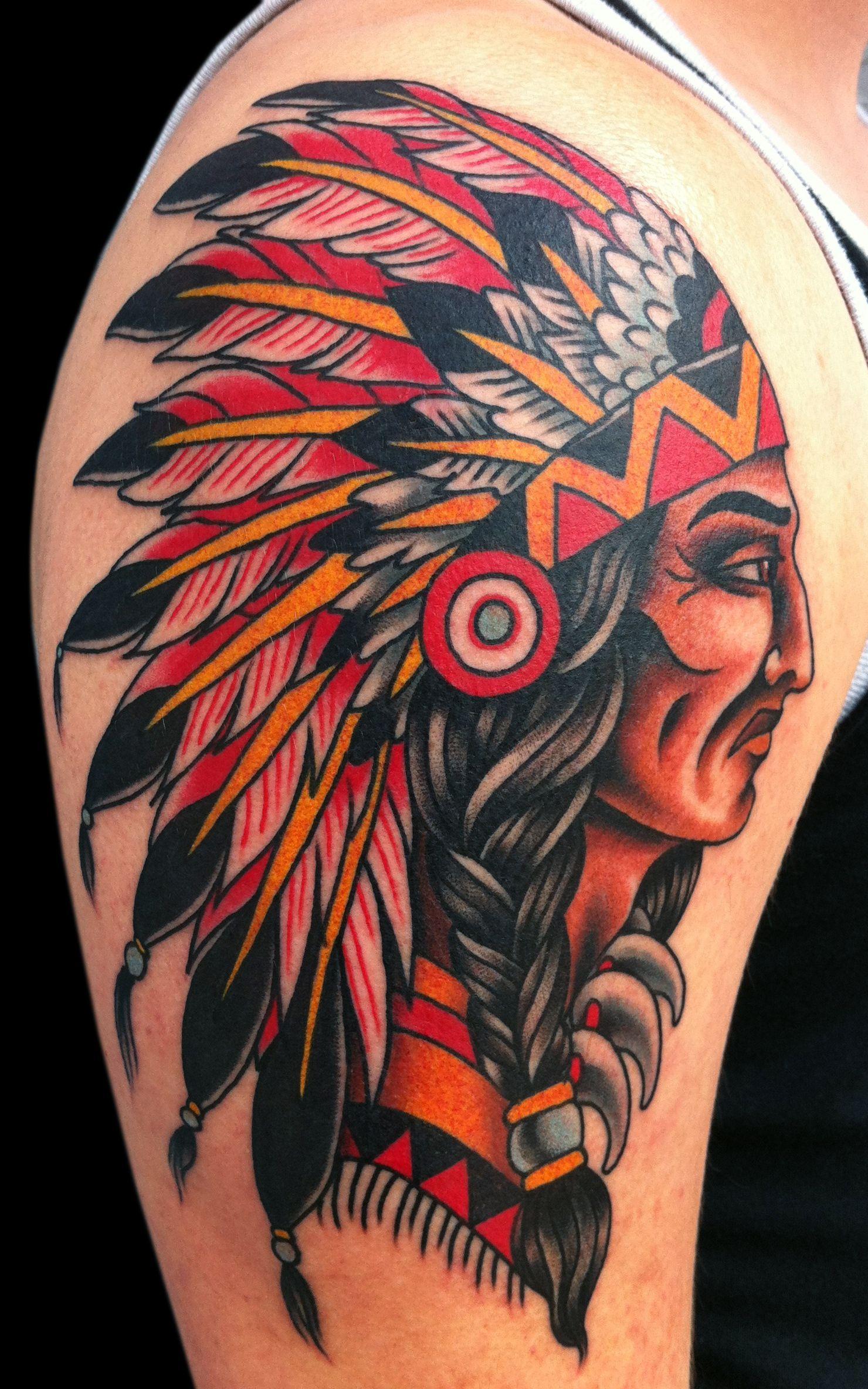 Portfolio David Bruehl Indian Tattoo Red Indian Tattoo Traditional Tattoo