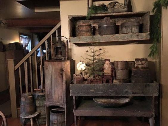 At bottom of my steps colonial primitive in 2019 - Primitive country living room ideas ...