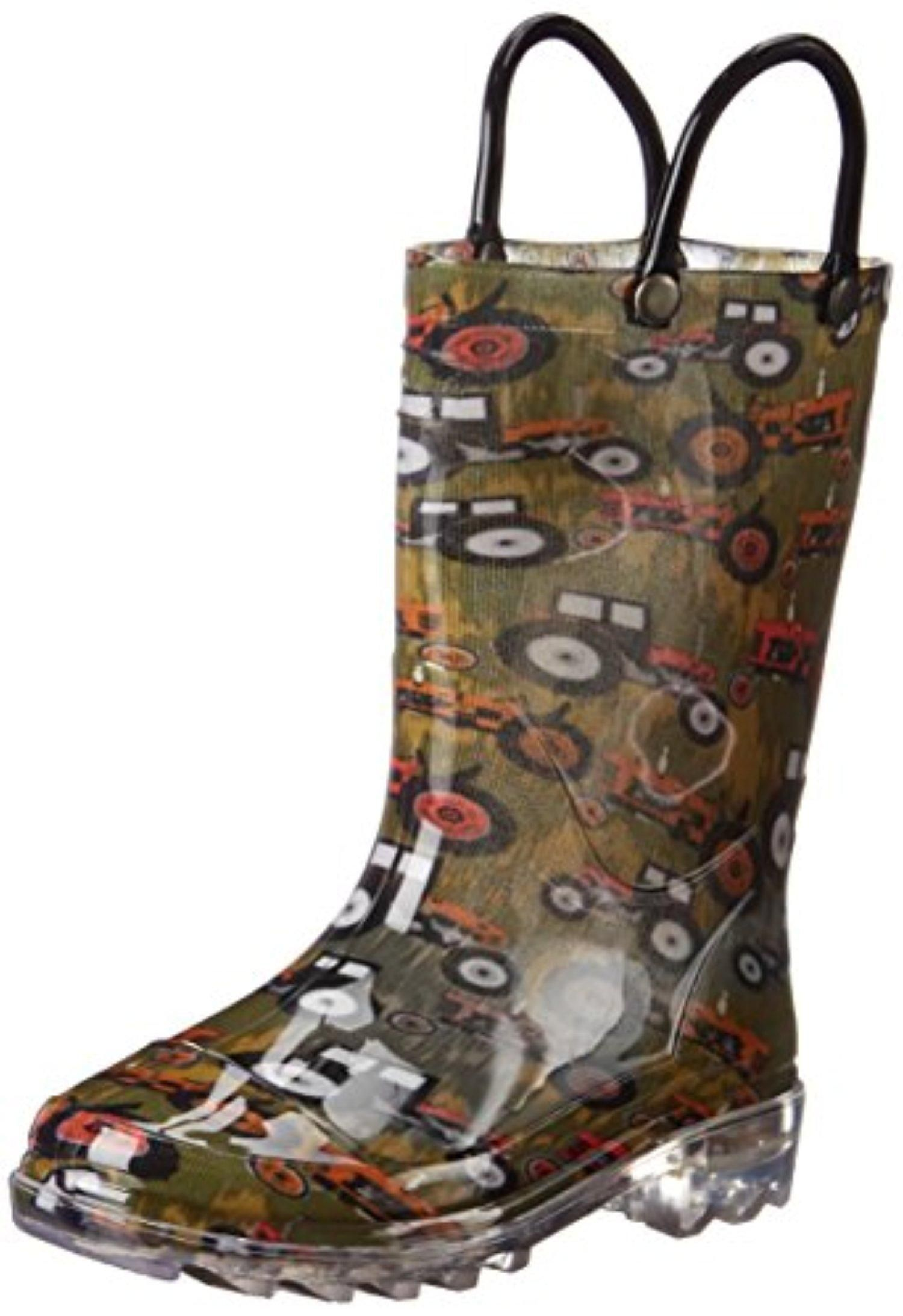 Western Chief Tractorized Light-Up Rain Boot (Toddler/Little Kid/Big Kid), Olive Green, 8 Toddler - Brought to you by Avarsha.com