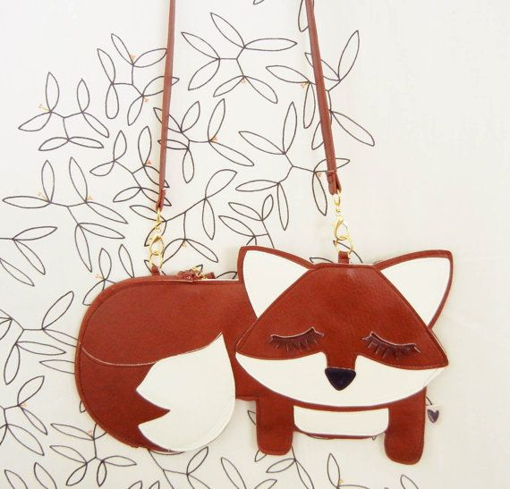Large Grayson the Fox Cute Vintage Inspired Brown Vinyl by Cuore, $52.00