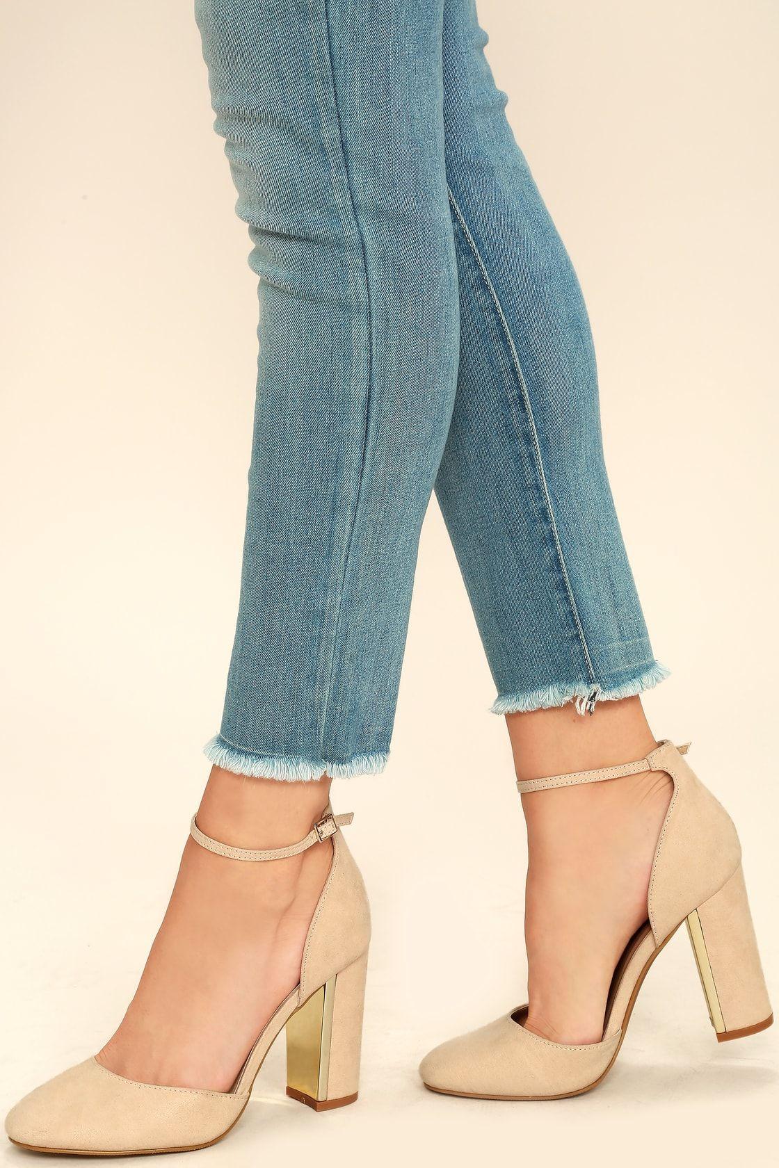 9cdb9d11bd Chic Nude Suede Heels - Ankle Strap Heels - Block Heels