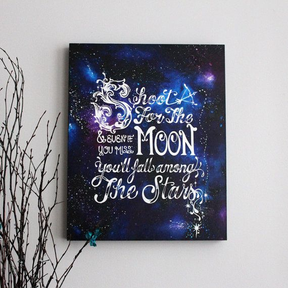 Original Shoot For The Moon Screenprint and Painting- 16 x 20 x 1.5 | Beautiful painting!