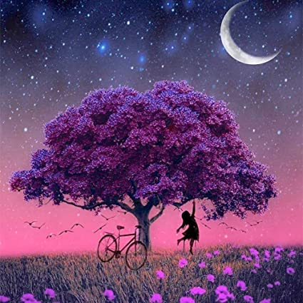 DIY 5D Diamond Painting by Number Kit,Crystal Rhinestone Diamond Embroidery Paintings Cross Stitch for Home Wall Decor(Purple Tree),11.8 x 11.8 inch,Frame NOT Included