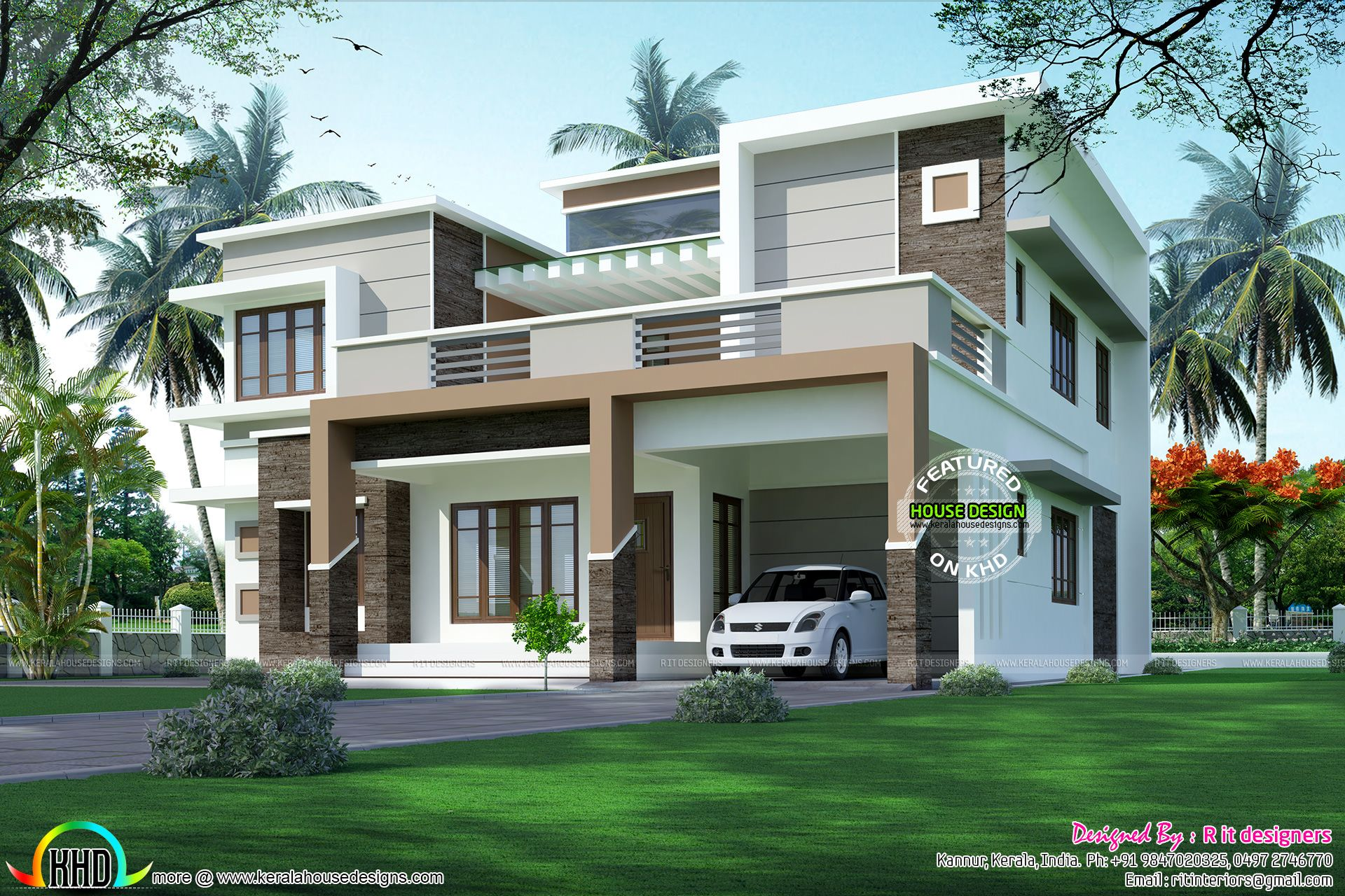 Kerala House Front Elevation Models : Modern flat roof sober colored home my new city
