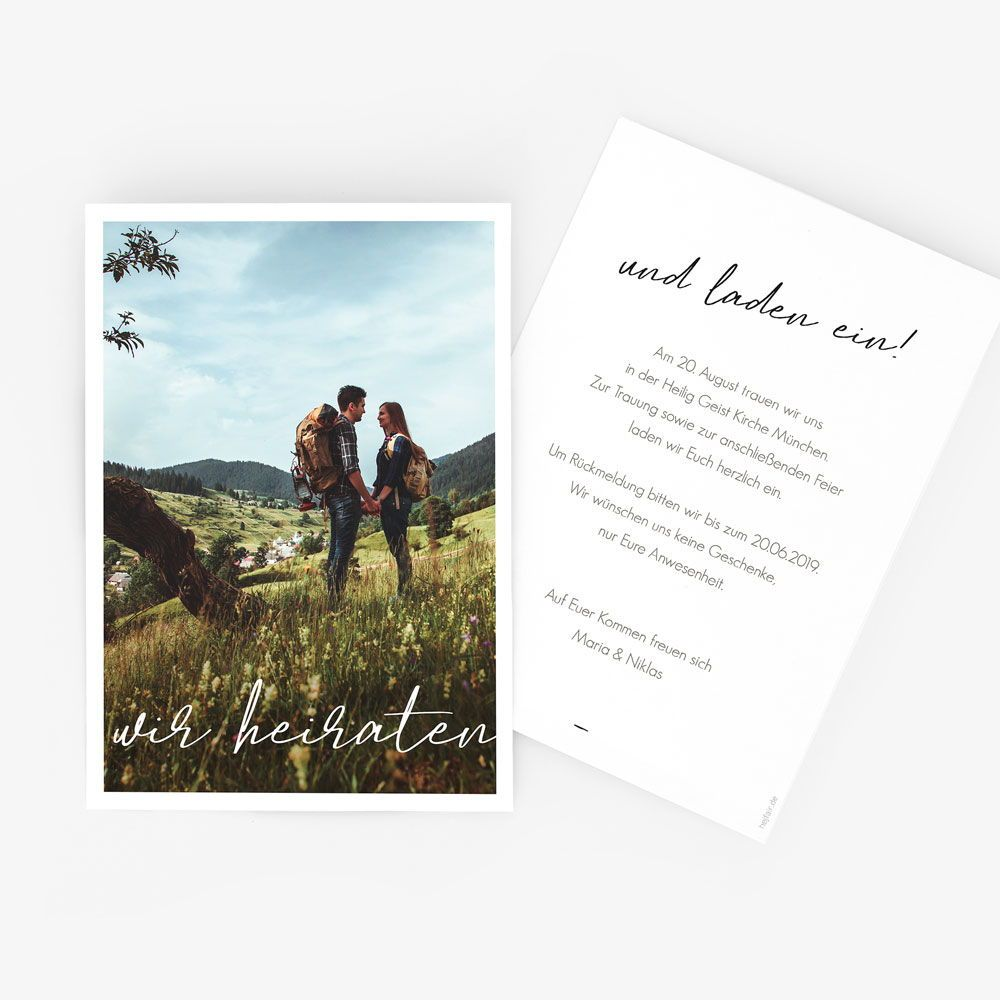 Wir Heiraten Nachhaltige Hochzeitseinladung Hej Fair Hochzeitseinladungen Mit Foto Hochzeitseinladung Einladungen Hochzeit